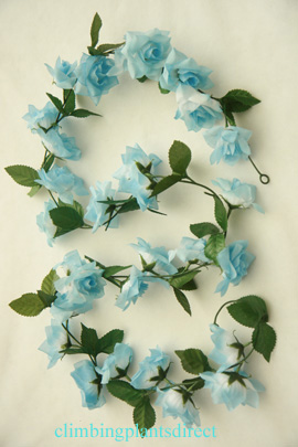 3x+Artificial+Flower+Garlands+in+Baby+Blue+Roses+and+Refreshing+Green+Leaf+Detail+%28150cm+long+and+30%2B+Flowers+%2D+5Ft%29