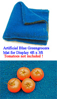 Artificial Blue Display Grass Matting 4ft x 3ft as used for Greengrocers & Market Stall Display