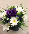 Silk Rose & Lily Grave Vase- Memorial- Sympathy Tribute