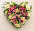 Silk Rose & Lily Heart - Memorial-Funeral Tribute