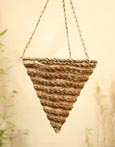 Hexagonal Cone Designer Hanging Basket in Bamboo Rope & Palm Leaf