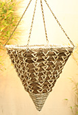 "White Maize with Bamboo Rope 12"" Square Cone Hanging Basket PAIR OFFER.  Postage FREE"